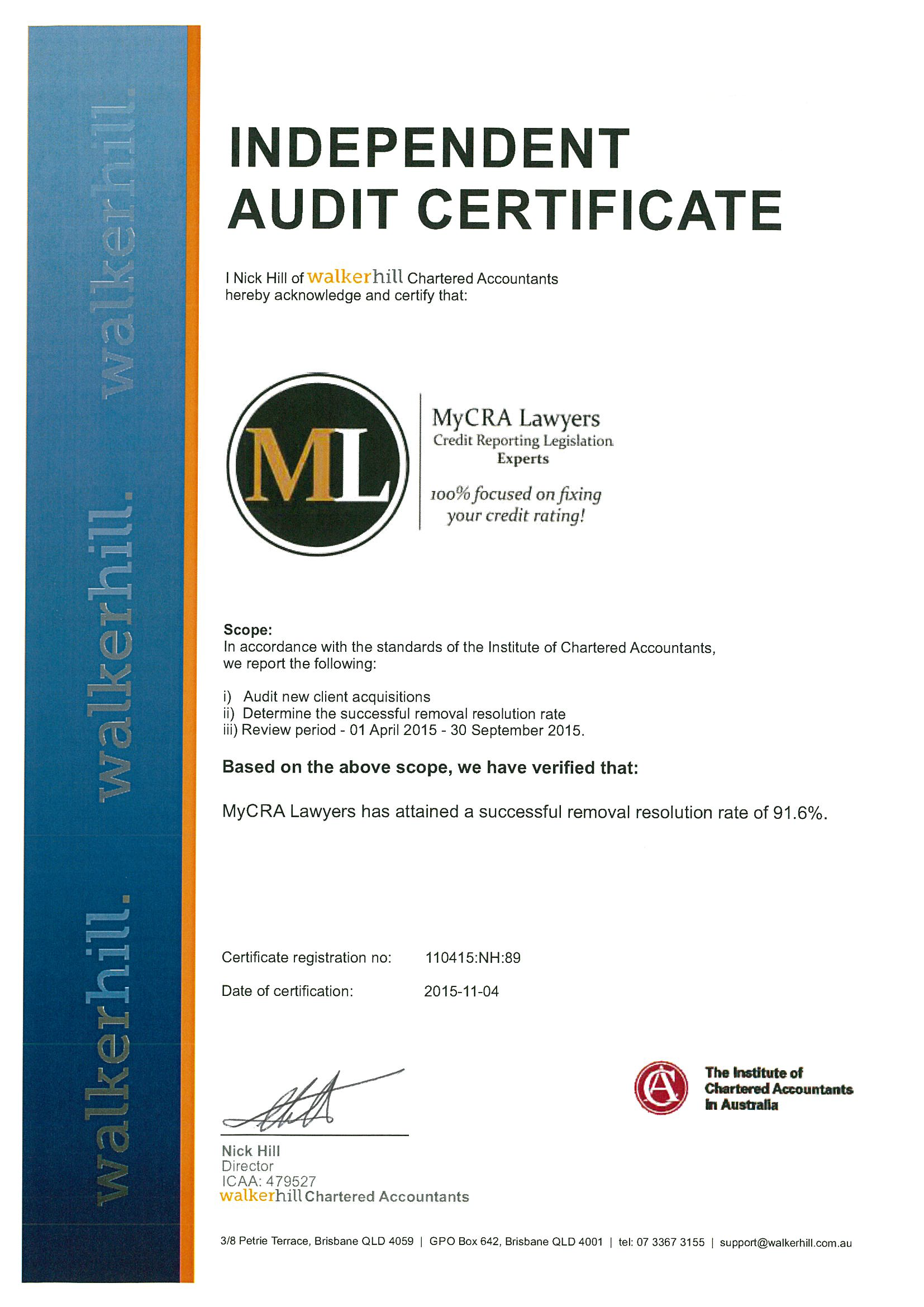 MyCRA Lawyers Independent Audit Certificate